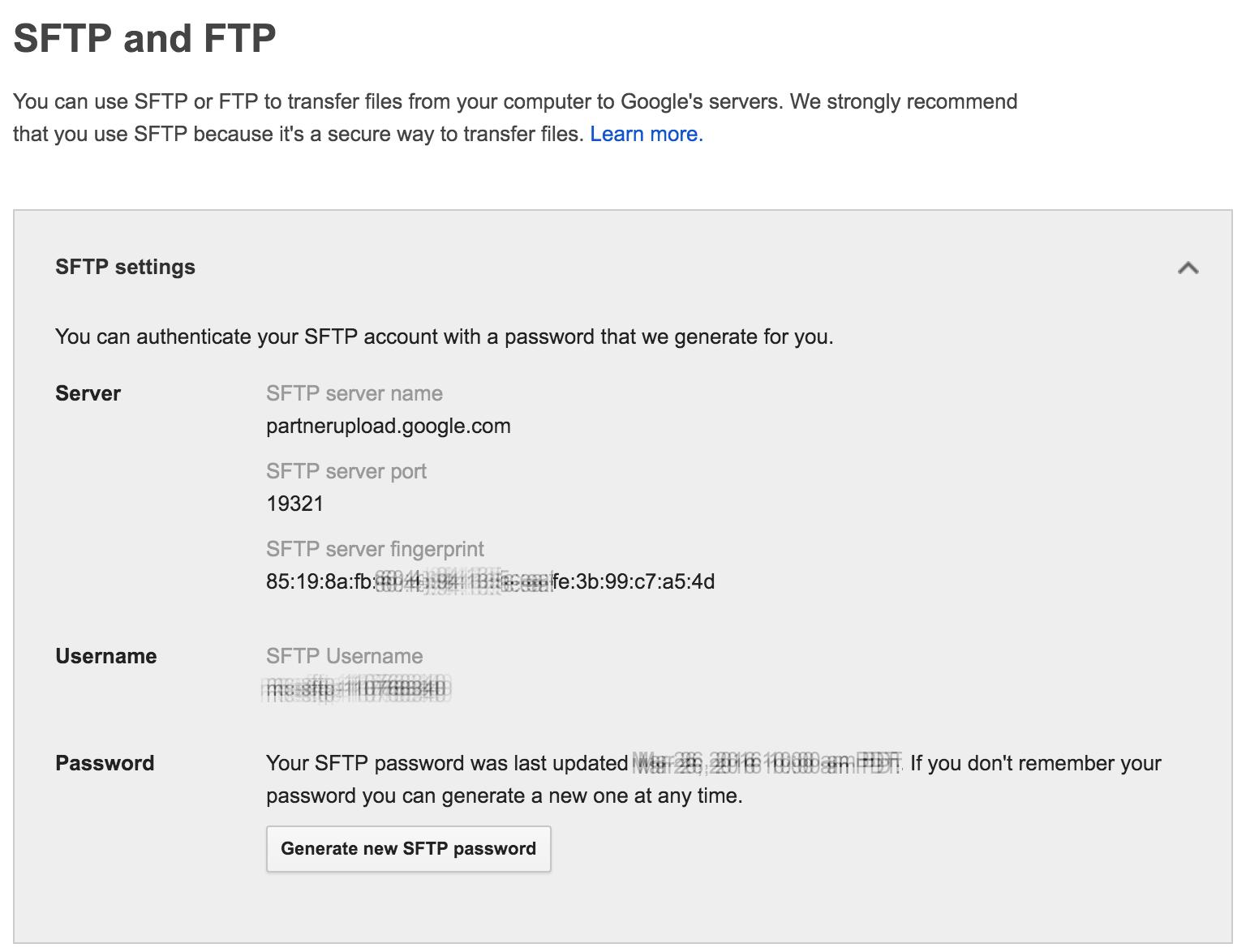 3. Create A New SFTP Account. Note: Acendau0027s Google Merchant Center  Integration ...