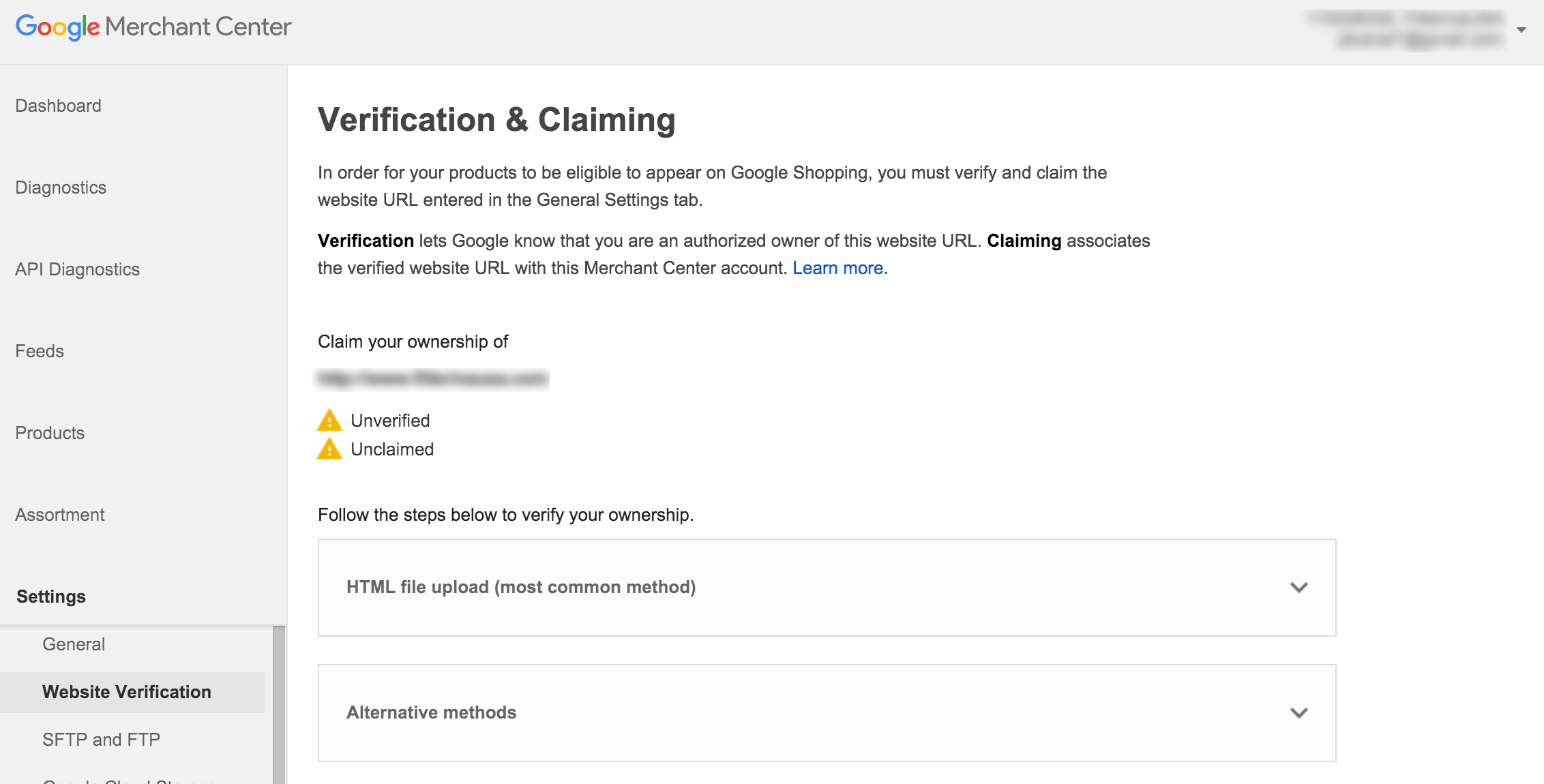 Google Merchant Center: Verifying Site Ownership